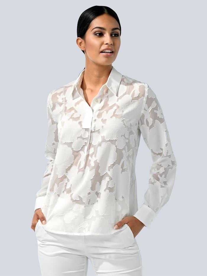 Alba Moda Bluse im modischen Ausbrenner-Look, Weiß