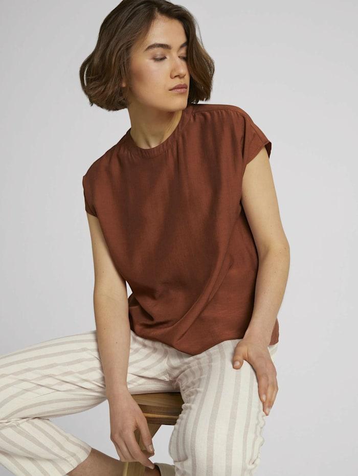 Tom Tailor Denim Kurzarm Bluse mit Stehkragen, amber brown