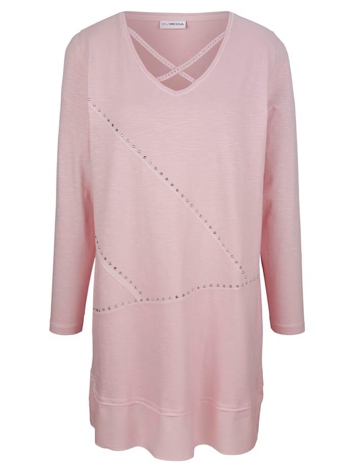 MIAMODA Dlouhé tričko se šňůrkou na výstřihu, Růžová