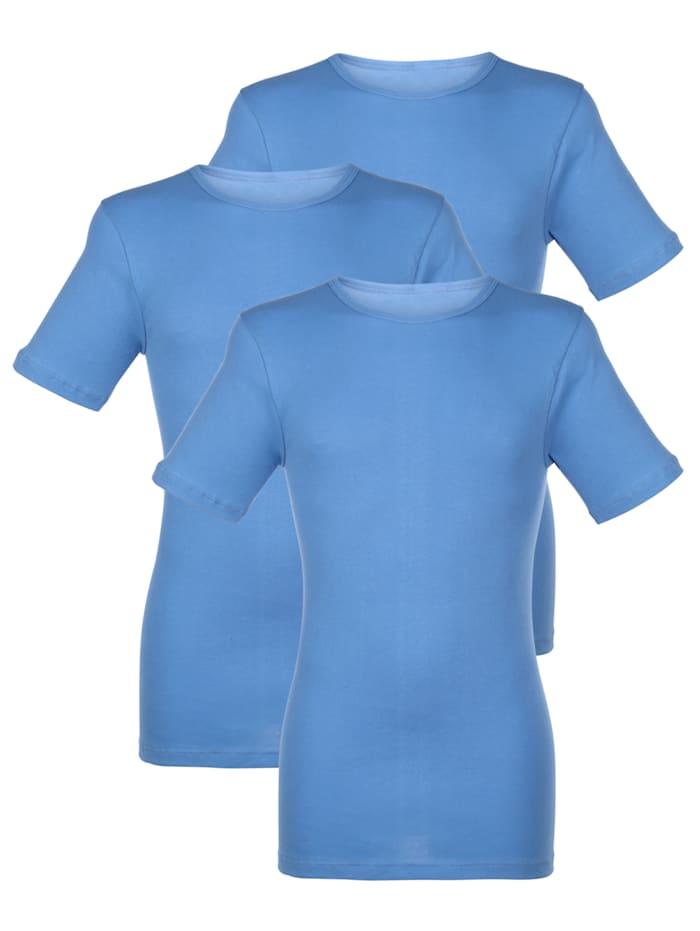 HERMKO Unterhemden im 3er-Pack mit Halbarm, Hellblau