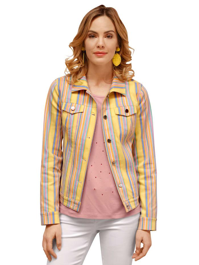 AMY VERMONT Spijkerjasje met strependessin, Geel/Lichtblauw/Lila