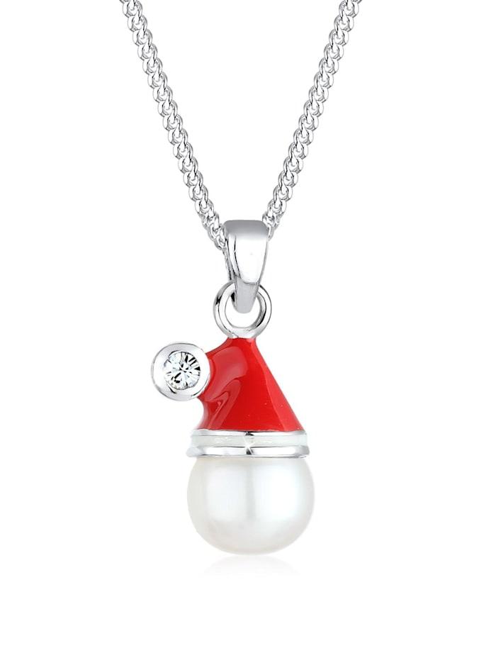 Elli Halskette Weihnachtsmannmütze Swarovski® Kristall 925 Silber, Rot