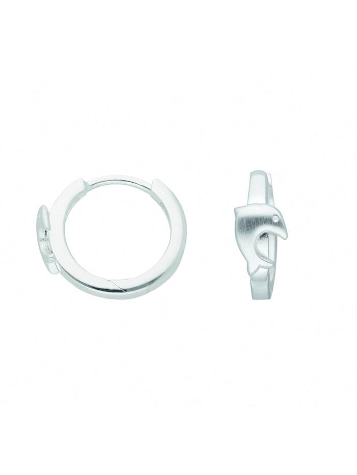 1001 Diamonds Damen Silberschmuck 925 Silber Ohrringe / Creolen Delphin Ø 14,5 mm, silber
