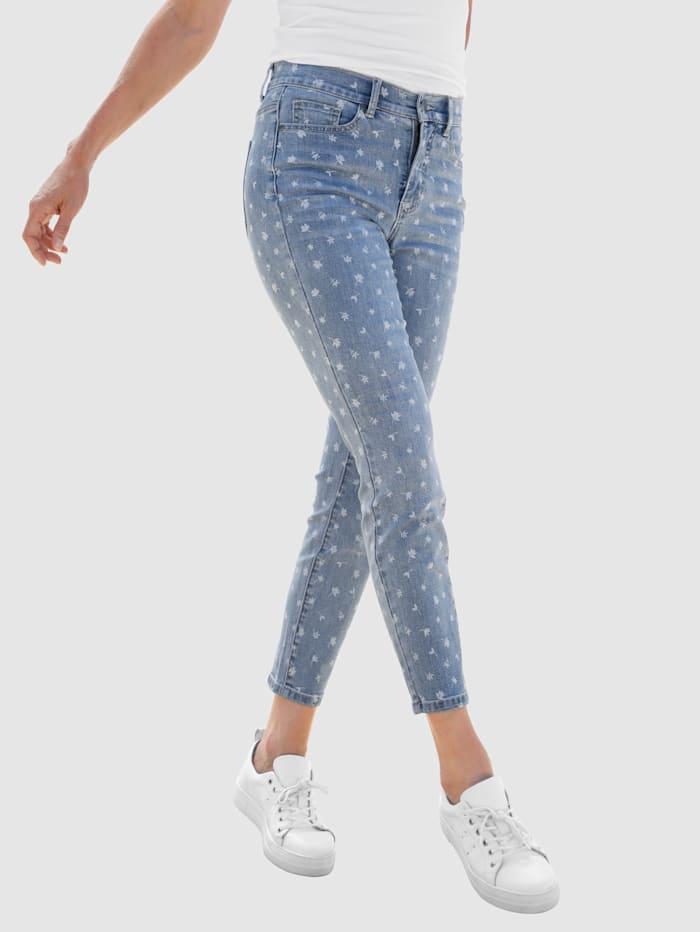 Dress In Jeans met gebloemde laserprint, Blue bleached