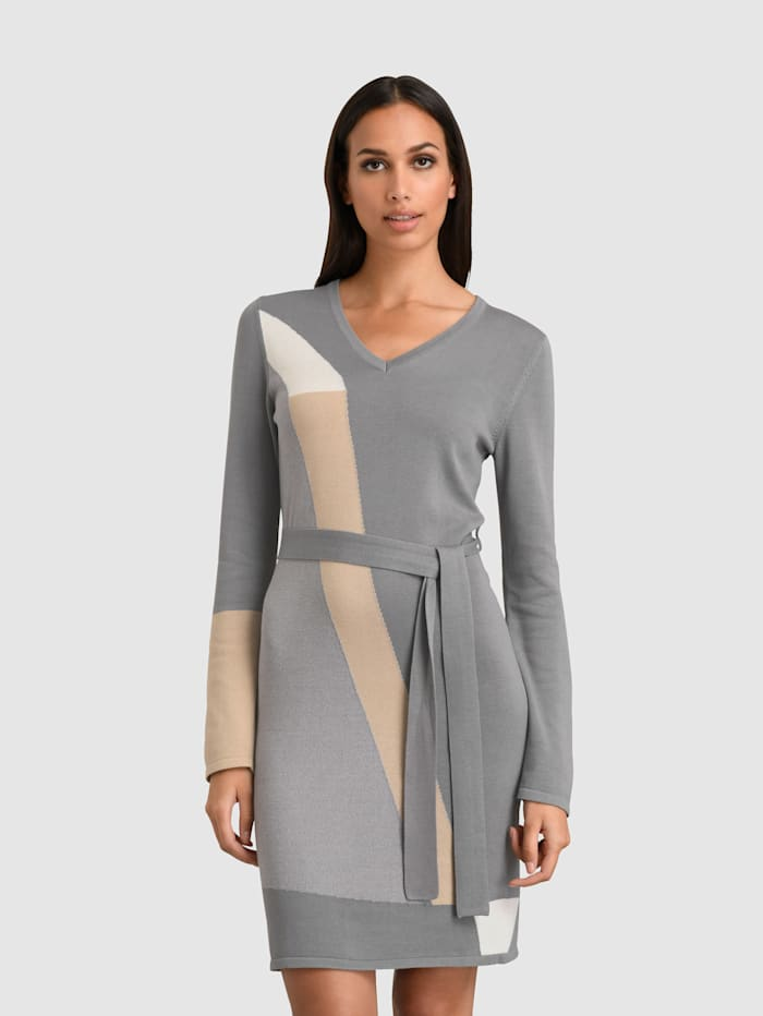 Alba Moda Kleid im grafischen Patch-Look, Grau/Beige/Off-white