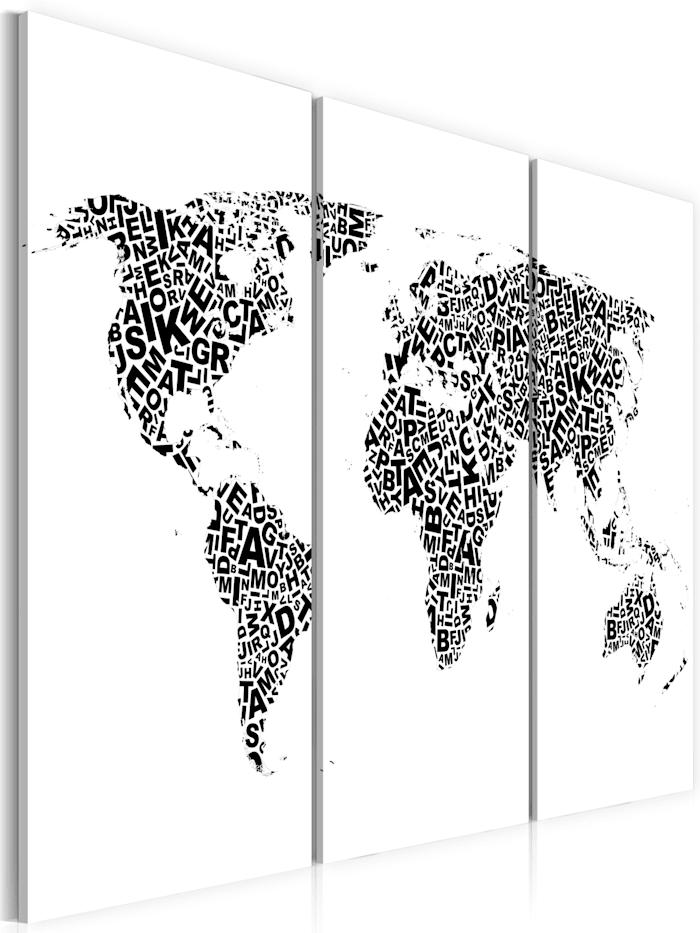 artgeist Wandbild Weltkarte - Alphabet - Triptychon, schwarz-weiß