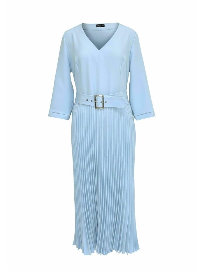 Wisell Plisseekleid mit V-Ausschnitt und Gürtel, blau