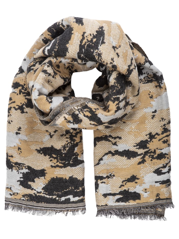 APART Jacquard Schal im Camouflage Style, beige- braun