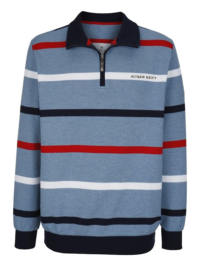 Roger Kent Sweatshirt van gemêleerd materiaal, Wit/Rookblauw/Rood