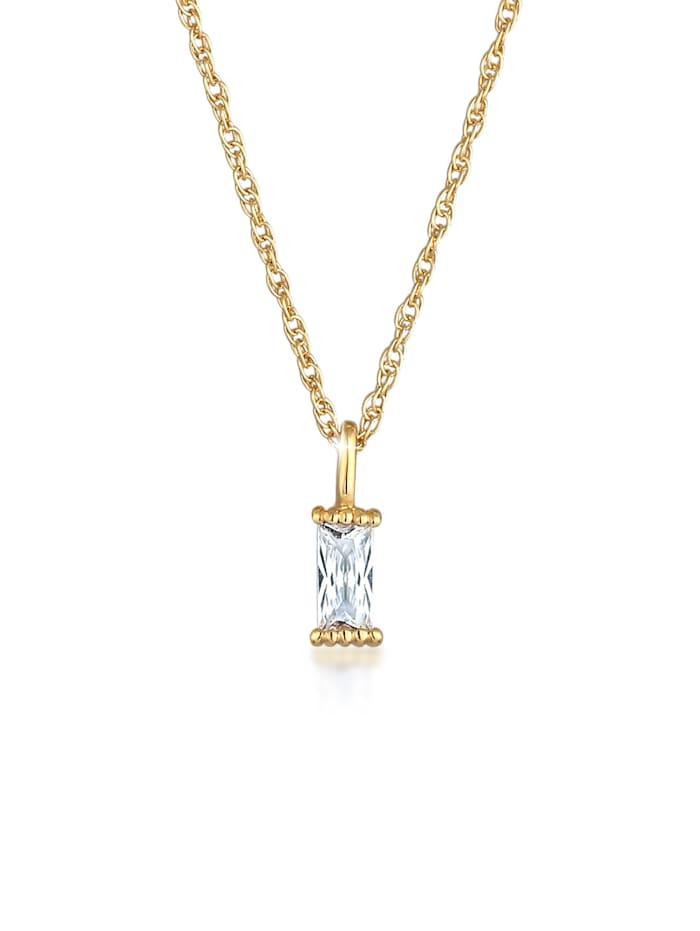 Elli Halskette Gedreht Solitär Zirkonia Rechteck 925 Silber, Gold