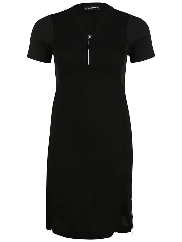 Doris Streich Kleid mit Reißverschluss-Ausschnitt, schwarz