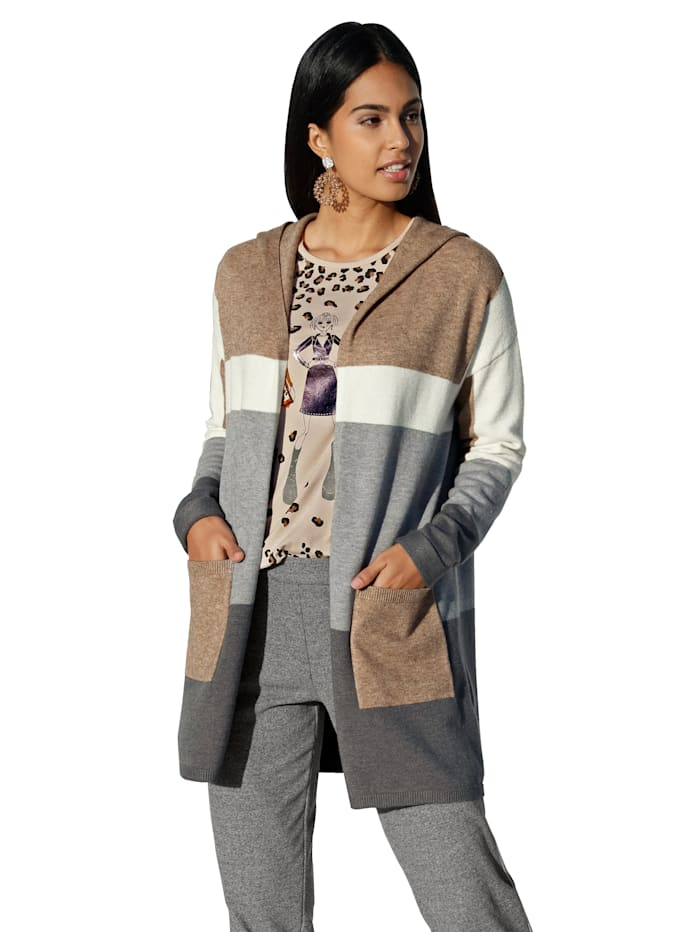 Betty Barclay Vest met capuchon, Grey/Camel