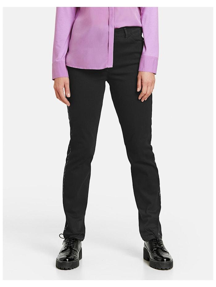 Gerry Weber Jeans mit glitzerndem Streifen, Black Denim