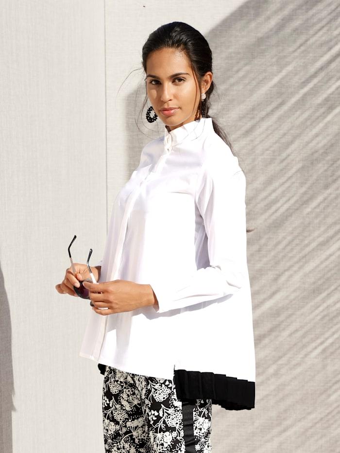 AMY VERMONT Bluse med plissert innfelling i ryggen, Hvit/Svart