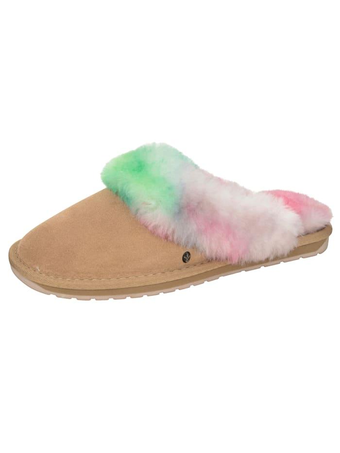 EMU EMU-Pantolette mit Lammfellkragen im pastelligen Farbverlauf, Beige/Multicolor