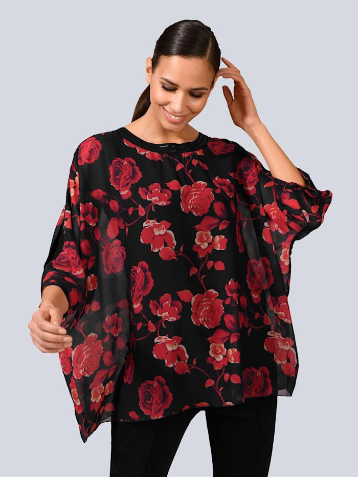 Alba Moda Bluse im floralen Dessin, Rot