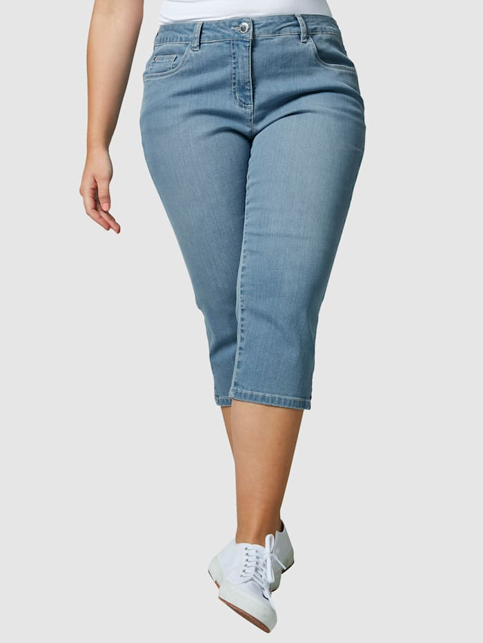 Janet & Joyce Caprijeans i 5-ficksmodell, Blue bleached