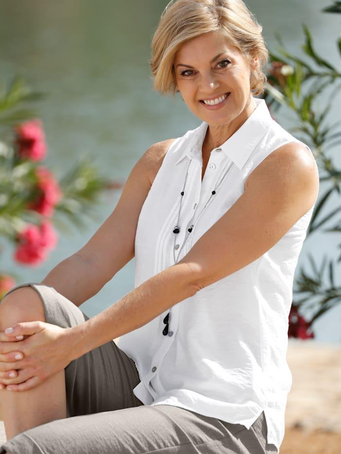 Paola Blouse avec chaîne amovible, Blanc