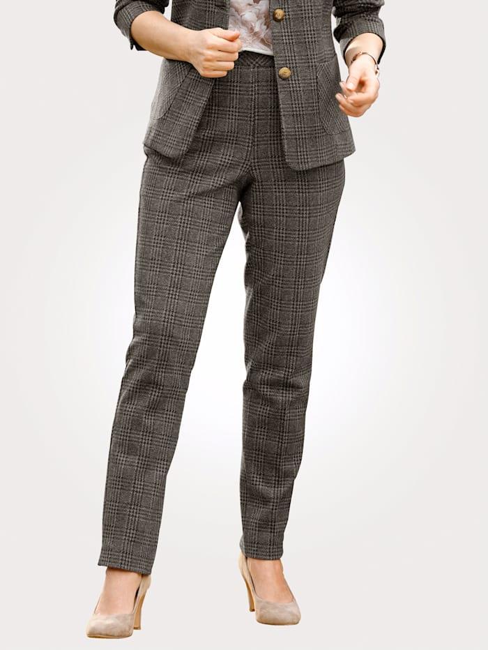 MONA Pantalon en jersey à motif de carreaux, Marron foncé/Taupe