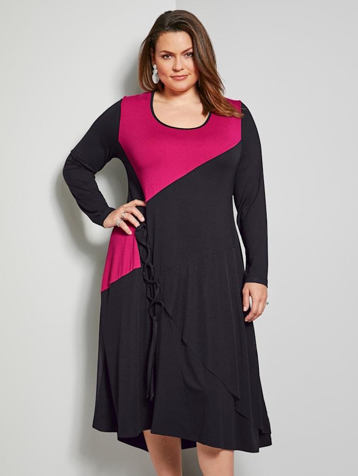 Sara Lindholm Jersey-Kleid mit Schnürung, Schwarz