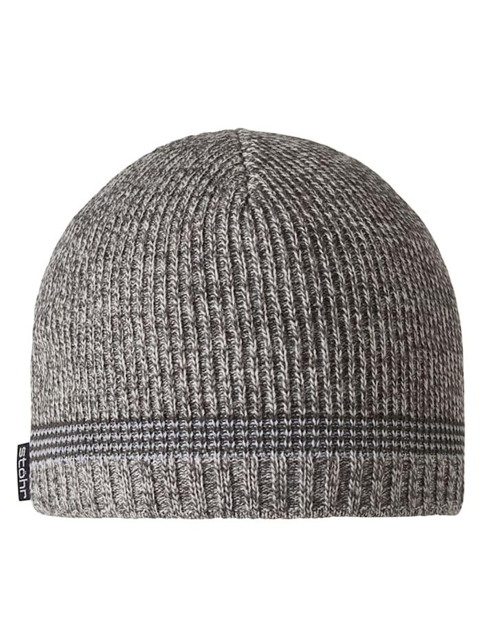 Stöhr OSSI - Mütze mit WINDSTOPPER(R) Material im Stirnbereich, kuschelig warm, grau-weiß