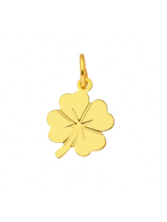 1001 Diamonds Damen Goldschmuck 333 Gold Anhänger Kleeblatt, gold