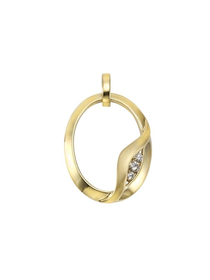 Orolino Anhänger 585/- Gelbgold Brillanten 585/- Gold Brillant weiß 2,6cm Glänzend 0,10ct, mehrfarbig