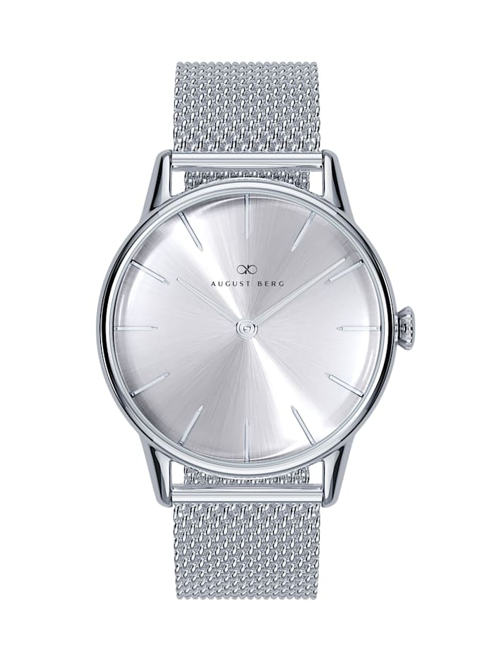 August Berg Uhr Serenity Simply Silver Silver Mesh 32mm, sunray silver