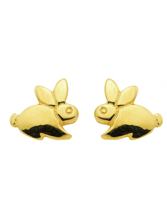 1001 Diamonds Damen Goldschmuck 333 Gold Ohrringe / Ohrstecker Hase, gold