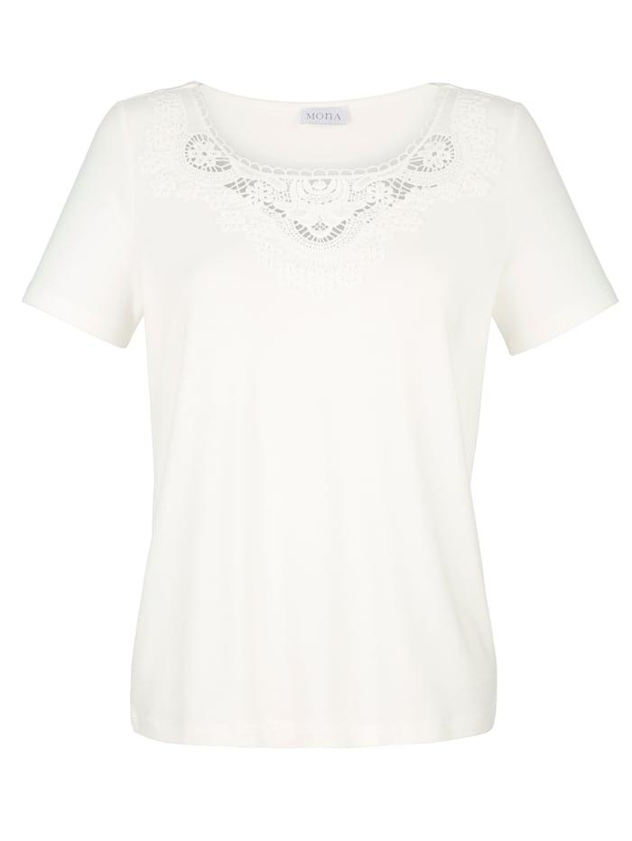 Shirt mit Reliefspitze am Dékolleté