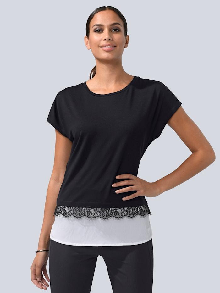Alba Moda Shirt mit Webeinsatz, Schwarz/Weiß