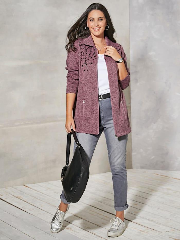 MIAMODA Fleecová bunda s praktickými vsazenými kapsami, Růžová