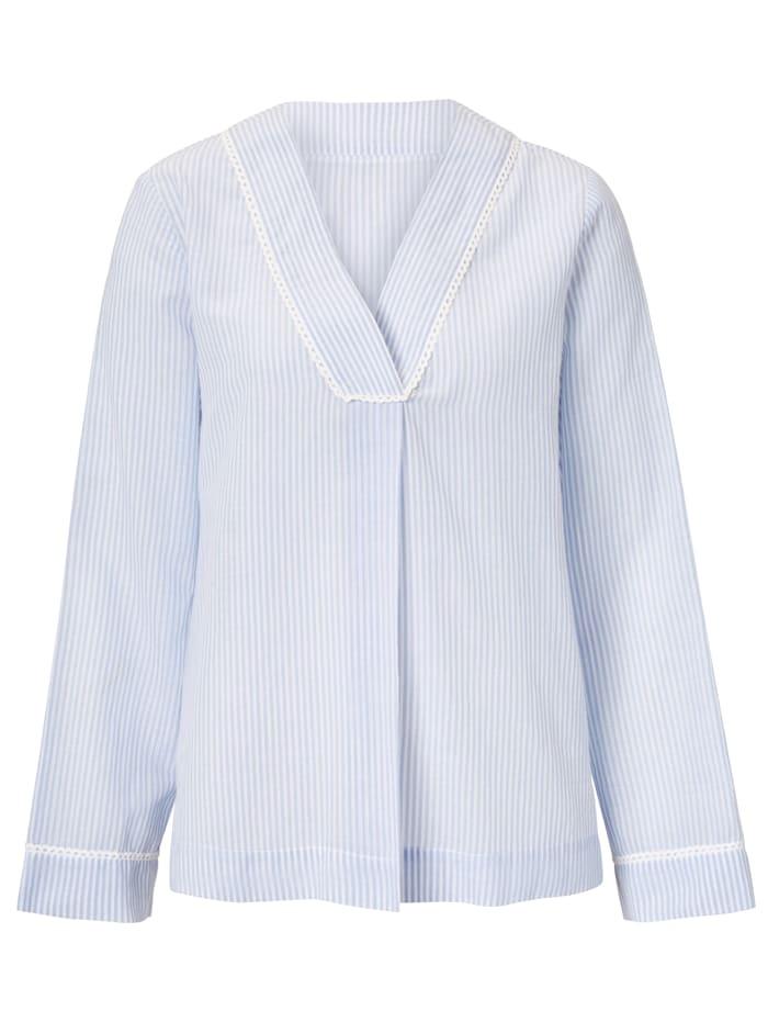 Mellow Peach Pyjama-Bluse mit feinem Strukturstreifen, Hellblau/Weiß