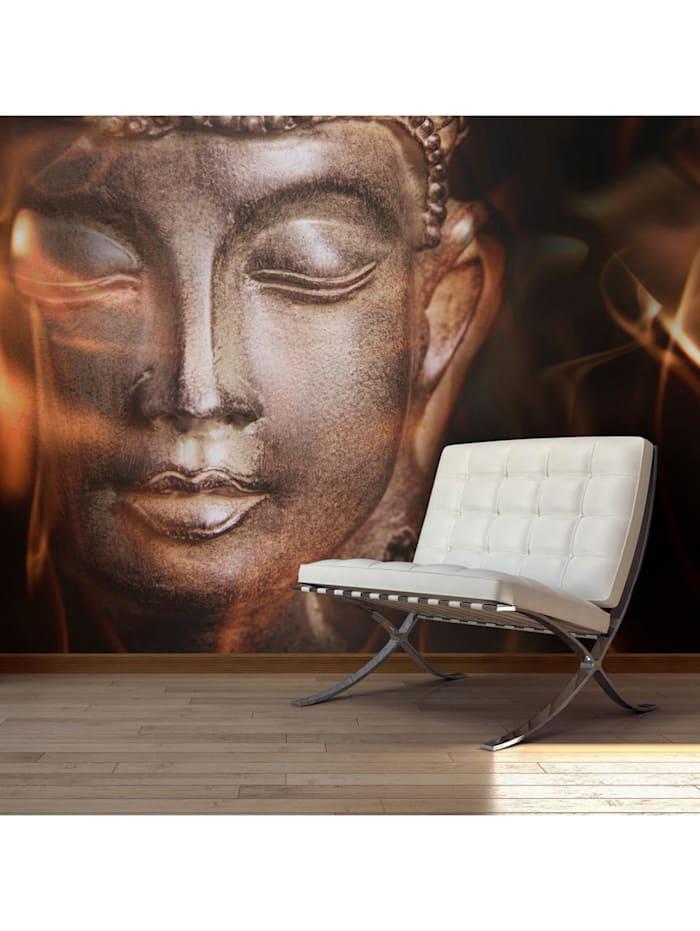 artgeist Fototapete Buddha. Fire of meditation., Gold,Braun