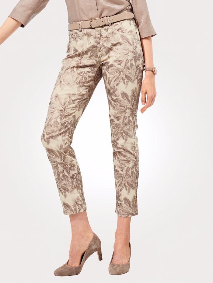 MONA Pantalon à imprimé floral brillant, Beige/Marron