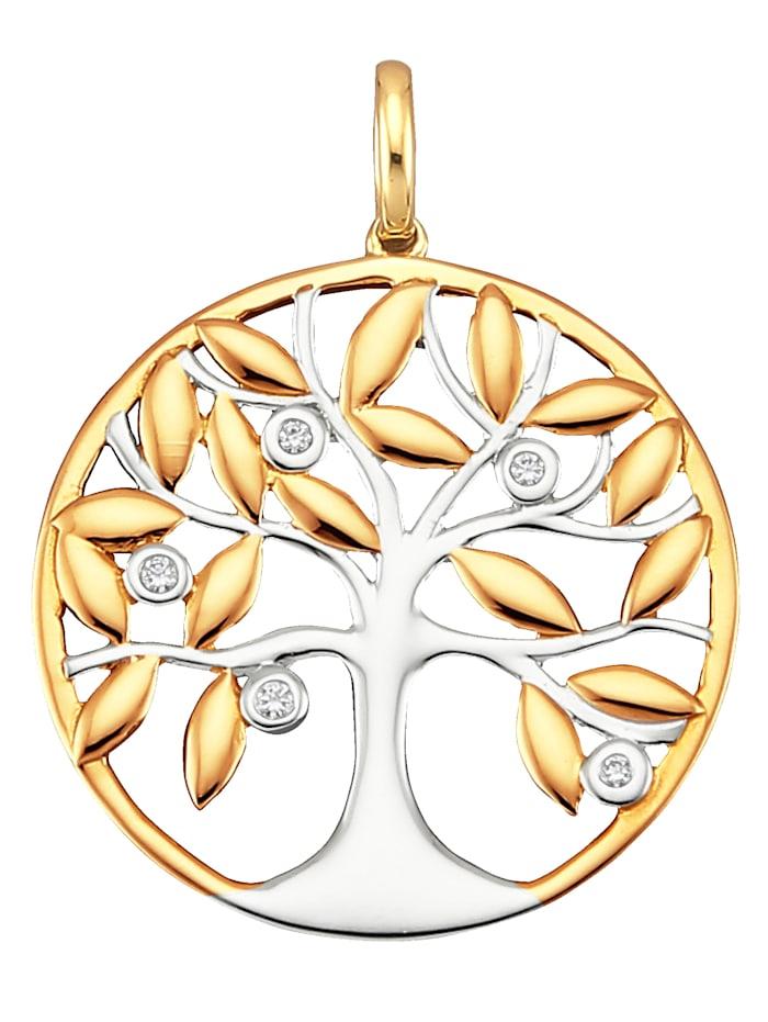 Diemer Diamant Lebensbaum-Anhänger mit Diamanten, Gelbgoldfarben