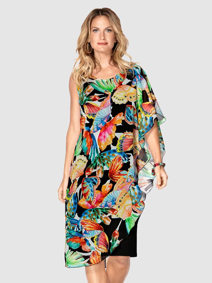 MONA Kleid mit farbenfrohem Druck, Schwarz/Multicolor