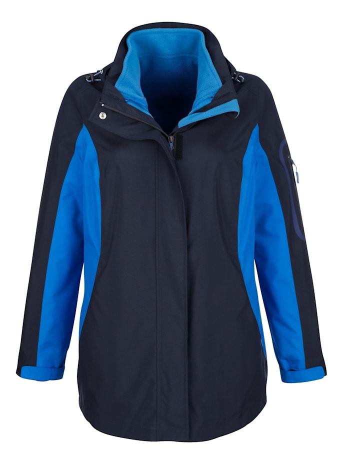 Paola 2-in-1-outdoorjas met uitneembaar fleece vest, Marine/Royal blue