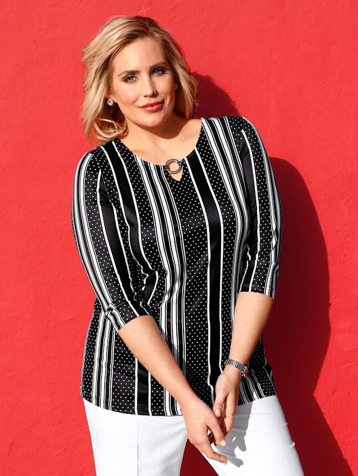m. collection Shirt rundum mit streckendem Muster, Schwarz/Weiß