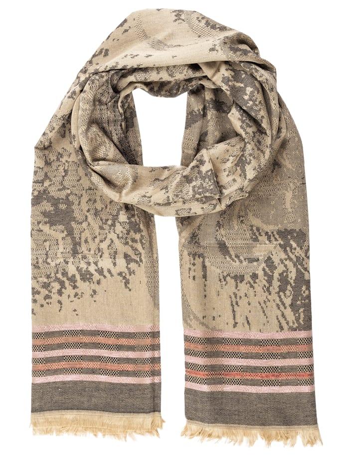APART Jacquard-Schal mit Streifen, beige-gold