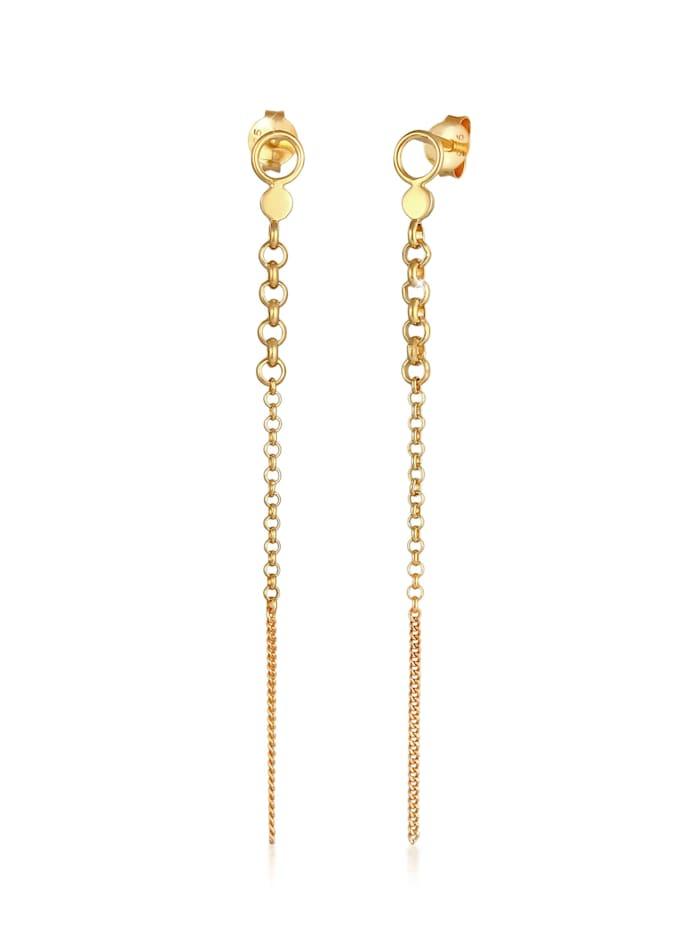 Elli Ohrringe Stecker Erbskette Plättchen Rund Trend 925 Silber, Gold