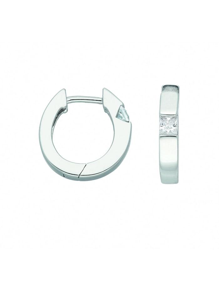 1001 Diamonds Damen Silberschmuck 925 Silber Ohrringe / Creolen mit Zirkonia Ø 15,2 mm, silber