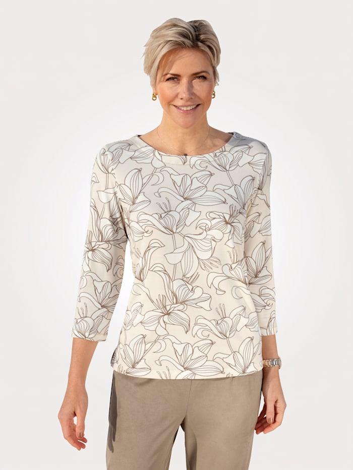 MONA Shirt van vormvaste jersey, Zand/Ecru