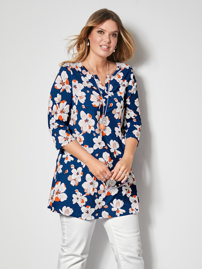 Janet & Joyce Tunika-Shirt in A-Shape, Royalblau/Orange/Weiß