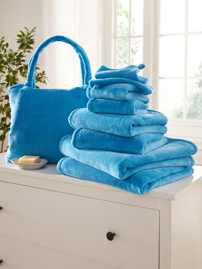 Webschatz Frottierset im 8er-Pack + Tasche Gratis, blau