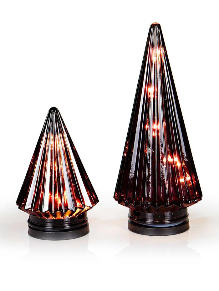 IMPRESSIONEN living Lot de 2 objets déco à LED, Rouge