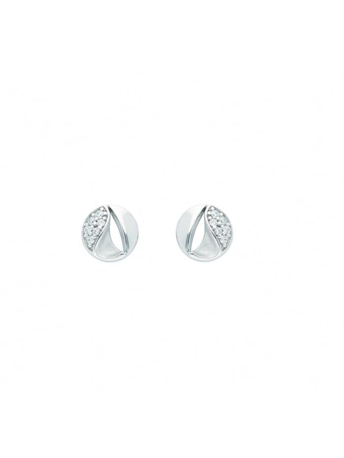 1001 Diamonds 1001 Diamonds Damen Goldschmuck 585 Weißgold Ohrringe / Ohrstecker mit Zirkonia, silber