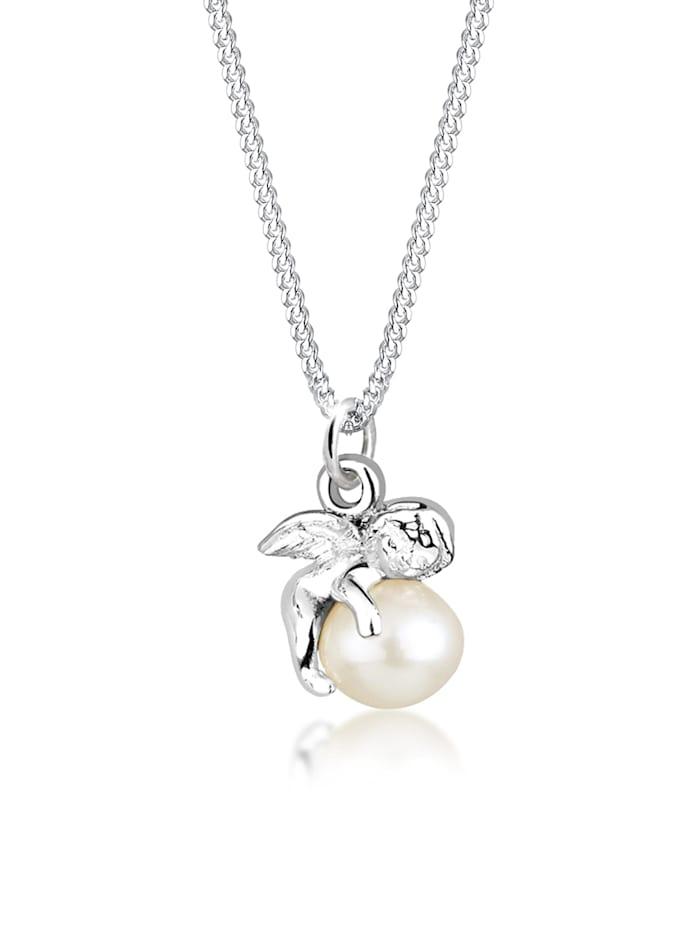 Elli Halskette Engel Süßwasserzuchtperle 925 Sterling Silber, Weiß