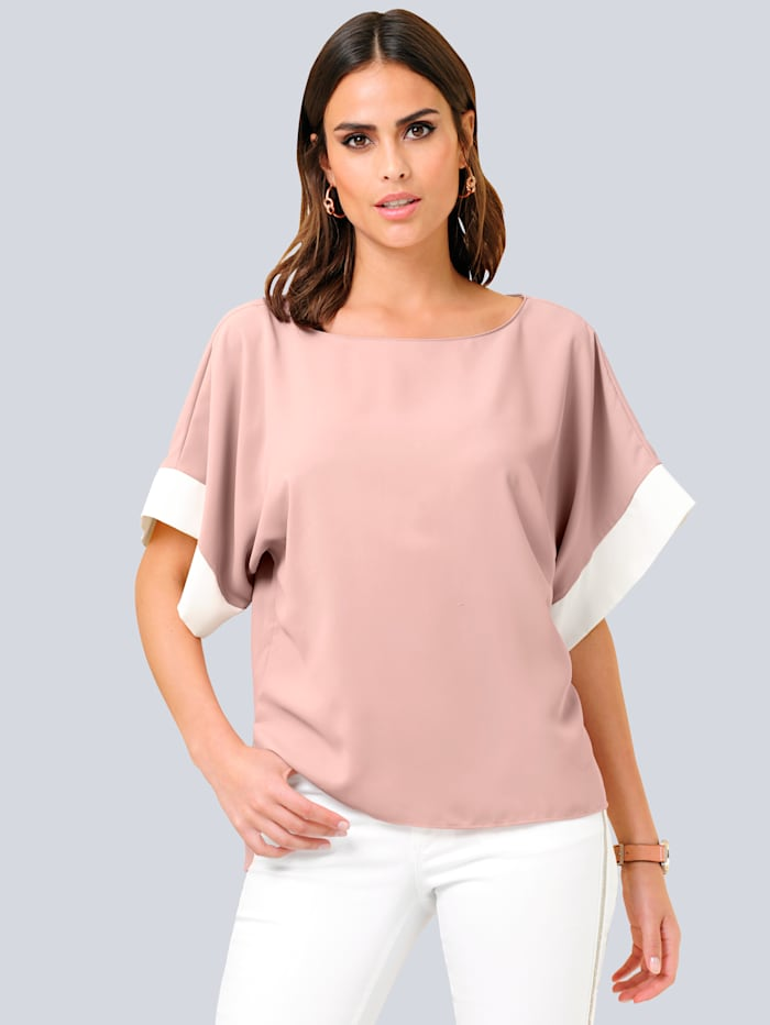 Alba Moda Bluse mit kontrastfarbigen Blenden, Rosenholz/Off-white