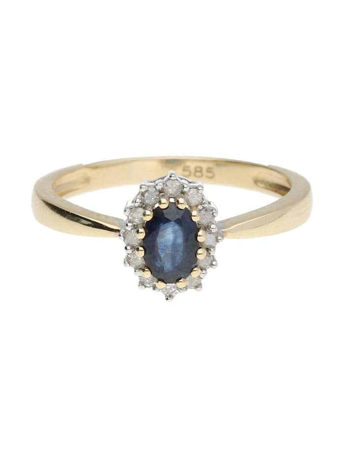 Luigi Merano Ring Safir und Diamanten, Gold 585, Blau